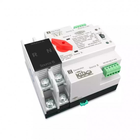 TOMZN Single Phase Din Rail ATS Dual Power Automatic Transfer Electrical Selector Switches Uninterrupted 50-60hz 2P 63A 100A