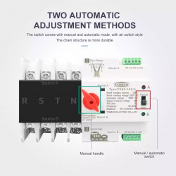 3 Phase Din Rail ATS Dual Power Automatic Transfer Switch Electrical Selector Switches Uninterrupted Power 4P 63A 100A TOMZN