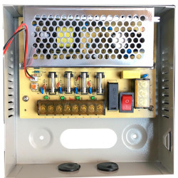 CCTV Power Supply 4CH Port Box, Distributed Power Supply for CCTV DVR Security System and Cameras, Output 12V 5A 60W Maximum