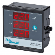 Digital Three Phase Voltmeter, Shows Phase Sequence, Slim Compact, LED Panel Meter Samwha-Dsp SDM-V96T