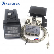 Dual Digital PID Temperature Controller Thermostat Kit REX-C100 with SSR-40DA heat sink quality K probe Thermocouple