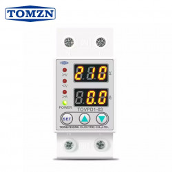 60A 230V Din Rail Adjustable Over Voltage and Under Voltage Protective Device Protector Relay TOMZN TOVPD1-63