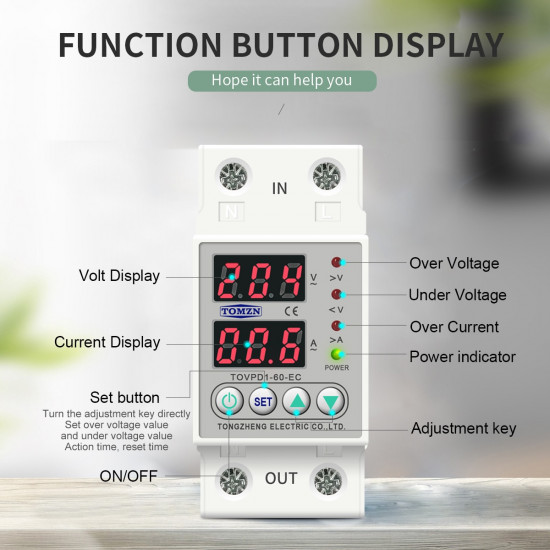 Din Rail Dual Display Adjustable Over Voltage Current and Under Voltage Protective Device Protector Relay 63A  230V