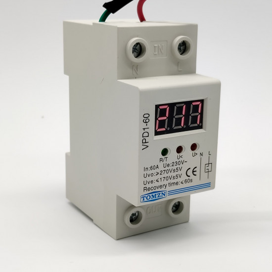 automatic reconnect over and under voltage protection protective device relay with Voltmeter voltage monitor 60 A 220 V
