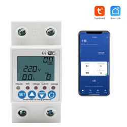 TUYA APP WiFi Smart Circuit Earth Leakage Over Under Voltage Protector Relay Device Switch Breaker Energy Power kWh Meter 2P 63A