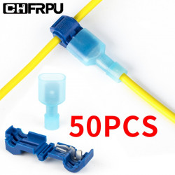 Quick Type T Electrical Cable wire Connectors Straight lock crimpingWaterproof insulated wire terminal 50Pcs(25set)