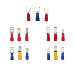 Assorted Spade Terminals Insulated Cable Connector Electrical Wire Crimp Butt Ring Fork Set Ring Lugs Rolled Kit 18 models