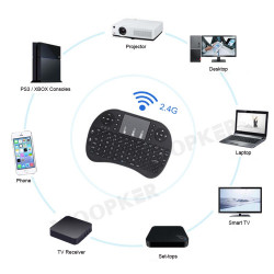 Mini Wireless Remote 2,4GHz Keyboard with Touchpad Mouse for Android TV Box Colourful LED Backlight Rechargable Li-ion Battery