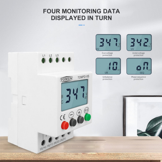 3 Phase Din rail adjustable Under Over Voltage Protector Voltage Monitoring Sequence Protection Relay